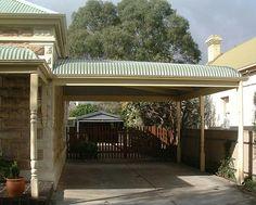 It pays to be bullish when building a heritage carport - Australia's Leading Home Improvement Company Double Carport, Carport Garage, Old Garage, Carport Designs, Carport Ideas, Instant Garage, Metal Carports, Canopy Shelter, Hardwood Decking