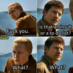 have I never pinned any of these omfg - Get beautiful Game of Thrones Necklaces on World of Westeros! (tap the link! Game Of Thrones Witze, Game Of Thrones Funny, Jaime And Brienne, Jaime Lannister, Lady Brienne, Got Memes, Funny Memes, Funny Videos, Game Of Throne Lustig