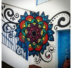 Danilo Roots) I want this on my room wall!(By Danilo Roots) I want this on my room wall! Murals Street Art, Street Art Banksy, Mural Art, Graffiti Art, Wall Murals, Mandala Design, Mandala Art, Wall Art Designs, Paint Designs
