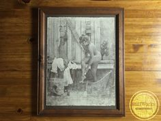 Vintage 1970's Collectible R Hendrickson Framed Sepia Art Print Woman Bathing with Peeper