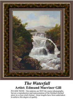 The Waterfall, Fine Art Counted Cross Stitch Pattern also available in Kit and Digital Download #pinterestcrossstitchpattern #pinterestgifts