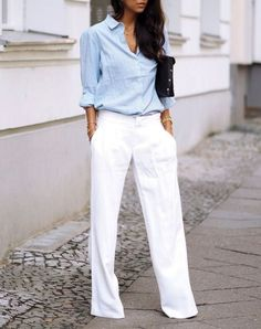 baby blue and white wide leg trousers