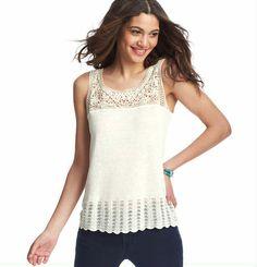 crochet yoke t shirt - Google Search