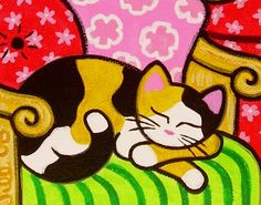 """""""Tropical Calico CAT Art PRINT from Original Painting - POPOKI Sleeping""""  I love Jill West's whimsical cats. . . I'm thinking that this could be inspiration for a fun mixed media Matisse collage!"""