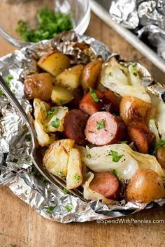 Cabbage and sausage are two ingredients that were definitely meant to be enjoyed together! Tender potatoes, smoky sausage, onion and sweet cabbage seasoned with garlic butter and all cooked in a tidy little packet on the grill!