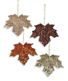 Nature Crafts Give your fall decorating an elegant sparkle with this glittered tin leaf ornaments. Set of 4 - colors Glittered tin. x Bethany Lowe. Nature Crafts, Fall Crafts, Diy Crafts, Leaf Crafts, Burlap Crafts, Diy Hanging Shelves, Diy Wall Shelves, Deco Noel Nature, Halloween Decorations