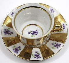 ROYAL BAVARIA Tea Cup and Saucer Germany Floral Lilac Heavy Gold