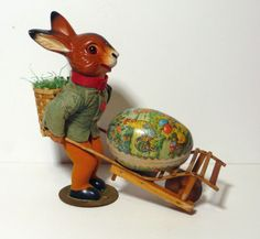 Vintage-U-S-Zone-German-Easter-Rabbit-with-Candy-Container-Basket-and-Cart