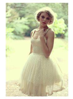 polka dot short wedding dress, check out details on bottom of skirt