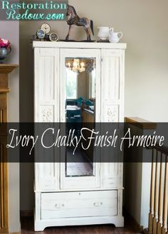 Ivory Chalky Finish Armoire Makeover - Daily Dose of Style Diy Furniture Projects, Chalk Paint Furniture, Home Decor Furniture, Furniture Makeover, Diy Home Decor, Diy Projects, Armoire Makeover, Furniture Inspiration, Diy Woodworking