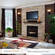 stone fireplace with tv full size of living room design living room with stone veneer fireplace stacked stone fireplace tv mount Stone Veneer Fireplace, Stacked Stone Fireplaces, Home Fireplace, Fireplace Remodel, Living Room With Fireplace, Fireplace Design, Fireplace Lighting, Stone Accent Walls, Accent Walls In Living Room