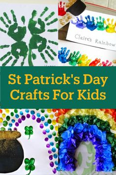 St Patricks Day Crafts For Kids - Fun and easy St Paddys Day shamrock leprechaun and rainbow crafts for kids of all ages to make. Handprint crafts for toddlers Pre-K and preschoolers too! Easy Diys For Kids, Easy Toddler Crafts, Diy Projects For Kids, Crafts For Kids To Make, Crafts For Teens, St Patricks Day Crafts For Kids, St Patrick's Day Crafts, K Crafts, Preschool Crafts
