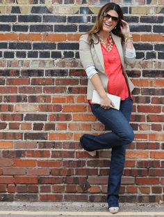 Casual Friday office wear featuring camel blazer and red blouse  (maternity style)  http://marionberrystyle.blogspot.com
