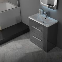 Patello 60 Grey Vanity Unit And Basin 2 Draws straight Modern Bathroom and Cloakroom Grey Vanity Unit, Basin Vanity Unit, Bathroom Vanity Units, Vanity Sink, Bathroom Furniture, Bathroom Interior, Modern Bathroom, Small Bathroom, Furniture Vanity