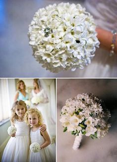 love the tiny flowergirl bouquets. also like the look of the bouquet on the bottom right