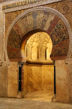 Mihrab entrance of the Great Mosque of Cordoba , Spain, c. 965. Mosaics of gold and lapis lazuli, abstract geometric patterns, vegetal forms, and sacred inscriptions from the Qur'an. Source.