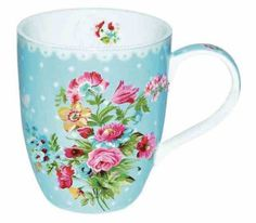 Blue porcelain cup Les Fleurs in blue colour, decorated with floral theme