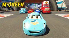 DISNEY CARS 2 SPIDERMAN Lightning McQueen Dinoco in Race Stunt (Nursery ...