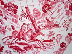 detail from a vintage tablecloth ~ red and pink toile countryside scenes