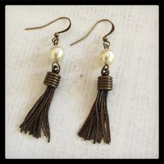 Tassels are hot! The pearls keep it classy. #earrings #handmade #etsy #tassels #brass #pearlearrings #upcycled #repurposed