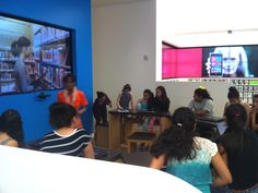 The #Microsoft Store at the Fashion Centre in Pentagon City (Arlington, VA) hosts several outreach events for organizations such as #BDPA.  Latinas Leading Tomorrow are shown here preparing for their afternoon session at the Pentagon City location.    Check local chapter event listings for June 2013. #BDPA-DC and #BDPA NoVA will host a National Small Business Week mixer at the Pentagon City store. Visit bdpatoday.org for invitation details to these and other events. Photo © 2013 bdpatoday