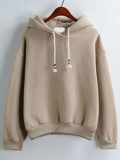 Khaki Hooded Long Sleeve Loose Sweatshirt -SheIn(Sheinside)