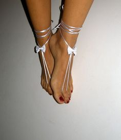 white barefoot sandles wedding Bikini  Women  Beach by SibelDesign, $9.90