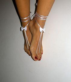 white barefoot sandles wedding Bikini  Women  Beach by SibelDesign, $9.90
