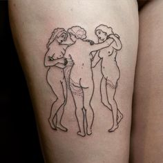 The Three Graces by Rubens #handpoked for Lisa  I'd love to do more large scale #stickandpoke's like this