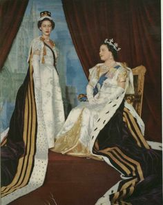 Queen Mother and Margaret at the coronation in 1953
