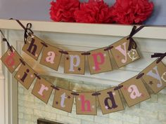 Happy Birthday Banner/Girls Western Theme Party Decor/Cowgirl Birthday Garland /Cowgirl Party Decor/ Birthday sign/ Party Decor Photo Prop