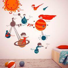 Planetele sistemului solar realizate din autocolant decorativ pentru perete