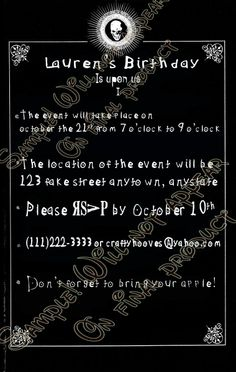 """Party Invitations UPrint Custom by CraftyHooves on Etsy, $10.20 - maybe less """"death"""" but in the right track"""