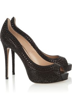 Valentino~Crystal-studded suede pumps