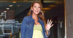 Pregnant Blake Lively continued her stunning style in her second outfit of the day, a yellow ball gown that she dressed down with a jean jacket, on June 20 in NYC — see her dazzling maternity style here!