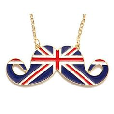 Union Jack Mustache Necklace Vintage Retro UK Flag by Craftasy, $5.00 I WILL LOVE WHOEVER BUYS ME THIS