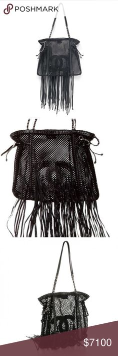 """Chanel Chanel Resort 2011 Runway Fringe Tote in black as seen on Kim Kardashian, Rihanna, and Fergie.  Features a mesh crochet pattern, CC interwoven logo, and head turning long fringe detail.  Made in Italy. In excellent condition.  Measurements are 15"""" height X 16"""" width X .5"""" depth.   Only one of this highly sought after bags available for sale from House of Carver. CHANEL Bags Totes"""