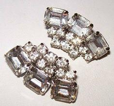 Vintage Rhinestone Earrings Art Deco by BrightgemsTreasures, $14.50