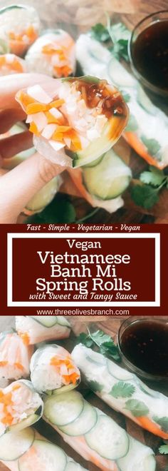 Quick and simple fresh spring rolls recipe featuring banh mi flavors of cucumber, pickled vegetables, cilantro, and rice noodles in a rice wrapper. Pickle your own carrots and daikon. Vegan, vegetarian, and gluten free. Serve them with the sweet and tangy hoisin sauce or your favorite Asian dipping sauce. Great for a healthy snack, appetizer, or lunch and as a New Years resolution recipe. Vietnamese Vegan Banh Mi Spring Rolls | Three Olives Branch | #healthyrecipe #vegan