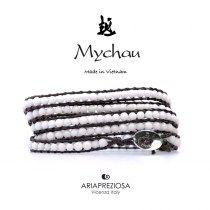 Mychau - Bracciale Vietnam originale realizzato con Agata Bianca naturale su base bracciale col. Testa di Moro