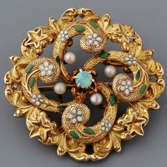 Antique Victorian Opal, Seed Pearl and Enamel Target Pin