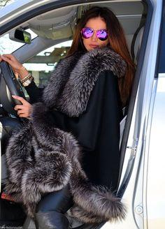 2015 Milano Silver FOX FUR Cashmere Poncho Class Mink Sable FOX Coat Jacket Saga…