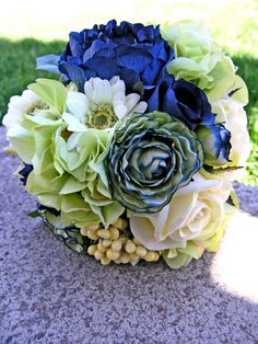 Navy Blue Green Floral Bridal Bouquet by ExpressionsFloral.etsy.com