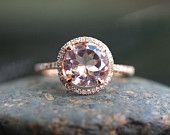 9mm 14k Rose Gold Morganite and Diamond Engagement or Wedding Ring
