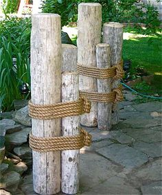 """SET TWO 48"""" High Wood Marine Pilings Nautical Coastal Décor, to differentiate the back from front yard, maybe? behind the patio?"""