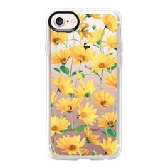 Golden Yellow Daisies on clear - iPhone 7 Case And Cover (730 MXN) ❤ liked on Polyvore featuring accessories, tech accessories, phone cases, phones, iphone case, tech, clear iphone case, iphone cases, iphone cover case and apple iphone case
