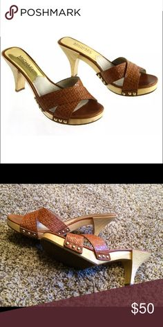 Micheal Kors Brown Signature Heels Authentic MK Leather Heels - Preowned 3inches high- Good Condition Michael Kors Shoes Heels
