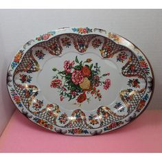 ON SALE Large Floral Shallow Oval Shaped Daher Tin Fruit Vintage Tins, Shallow, Oval Shape, Plates, Fruit, Trending Outfits, Unique Jewelry, Tableware, Handmade Gifts