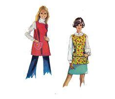 GARDENING  APRON Sewing Pattern Vintage 60s Smock by HoneymoonBus, $8.99