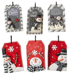 Have a snowman-themed tree this year with the Gerson International 4 in. Clay Dough Snowmen Ornament - Set of 6 . Made of clay dough, each ornament. Christmas Clay, Christmas Gift Tags, Christmas Projects, Simple Christmas, Holiday Crafts, Xmas, Clay Ornaments, Snowman Ornaments, Diy Christmas Ornaments